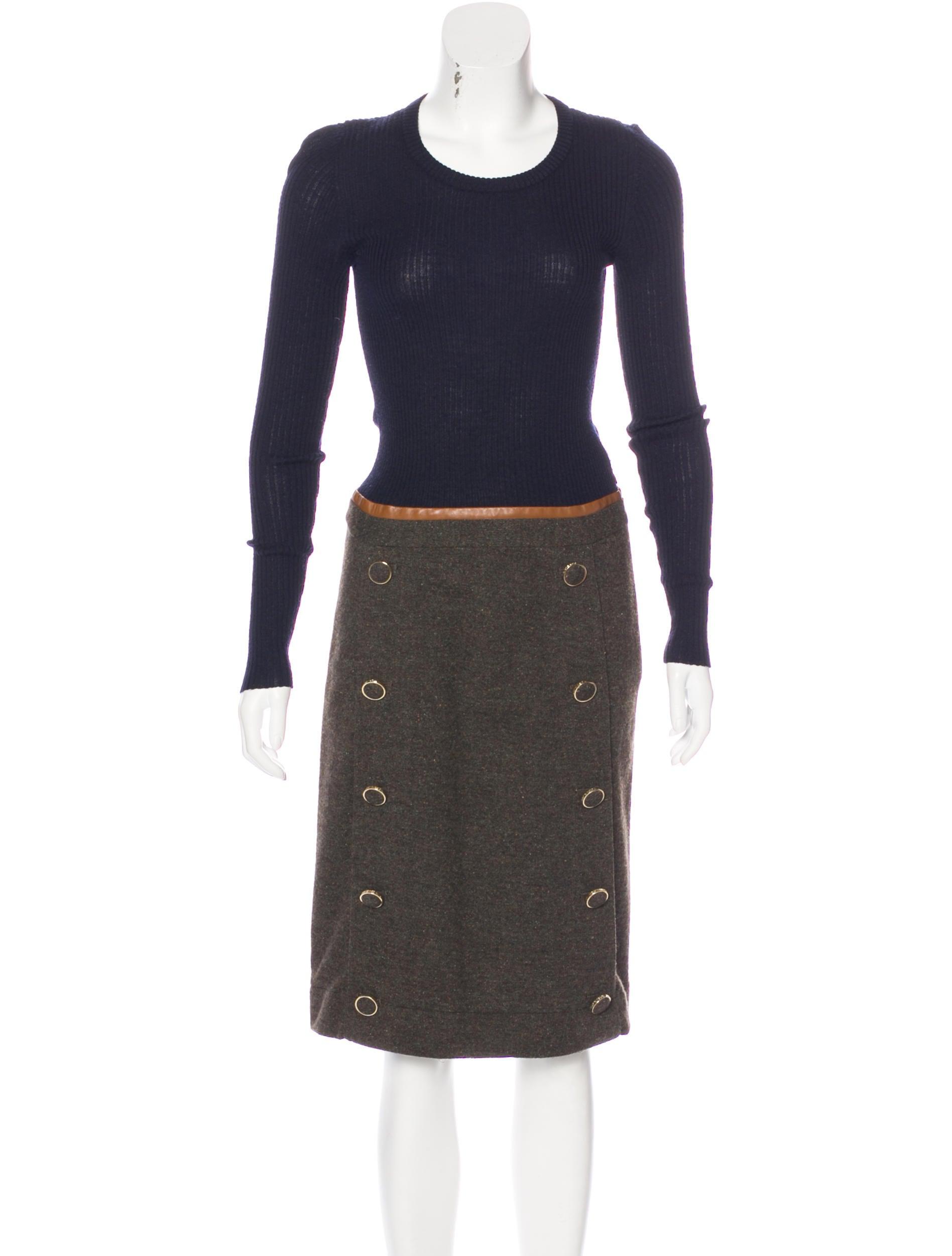 Tory Burch Wool Long Sleeve Dress Clothing Wto102996