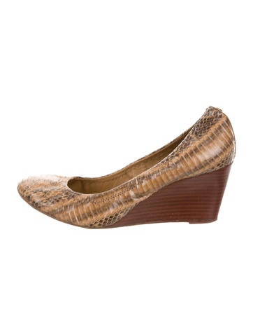 Tory Burch Embossed Leather Wedges None