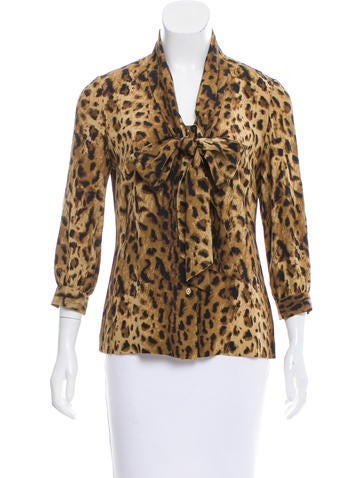 Tory Burch Silk Leopard Print Blouse Tops Wto103143