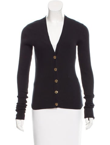 Tory Burch Rib Knit Cardigan Sweater None