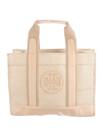 Tory Burch Leather-Trimmed Tory Tote None