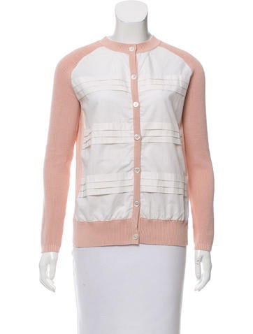 Tory Burch Pleated Button-Up Cardigan None