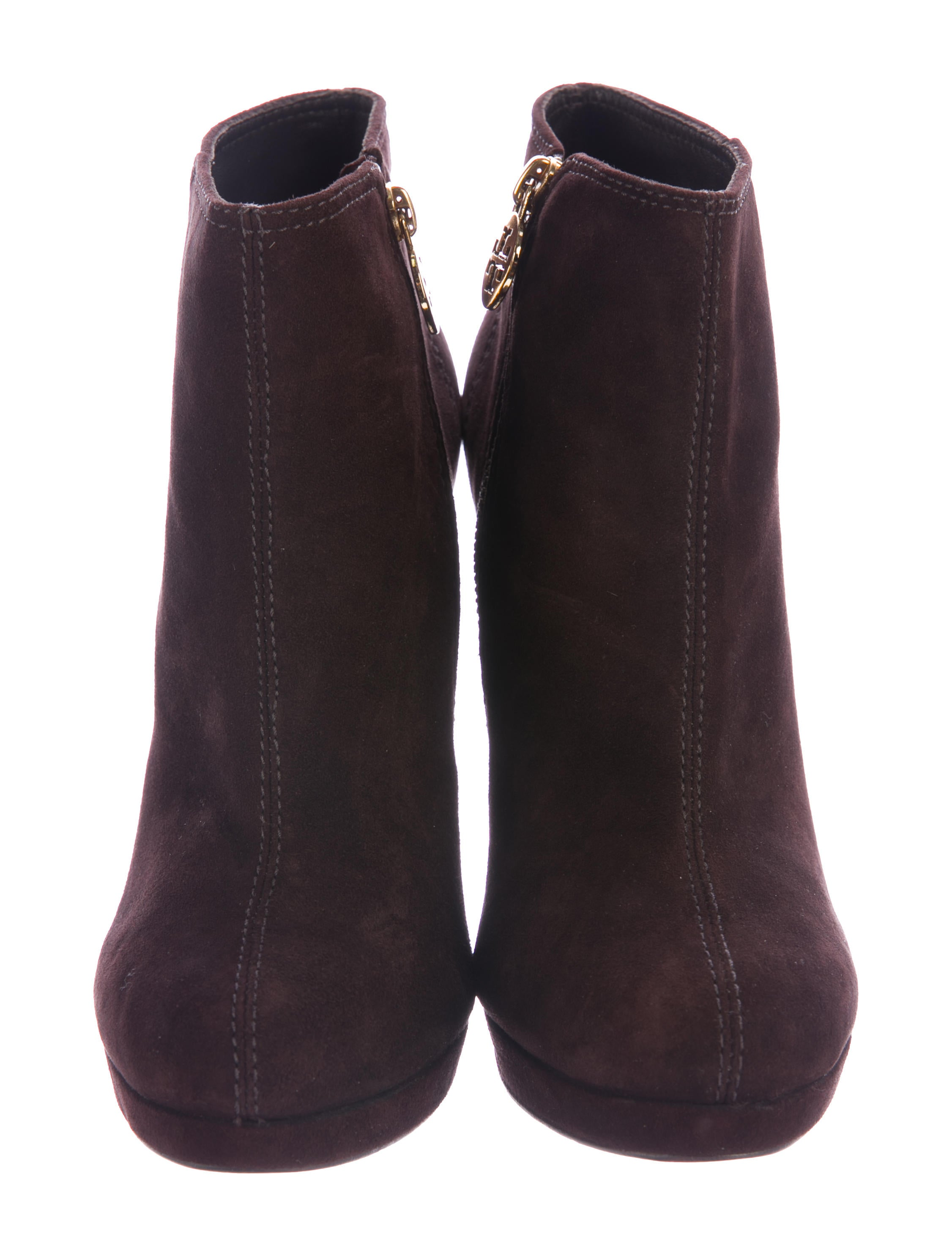 burch suede logo accented ankle boots shoes