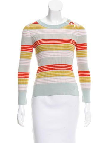Tory Burch Striped Silk Sweater None