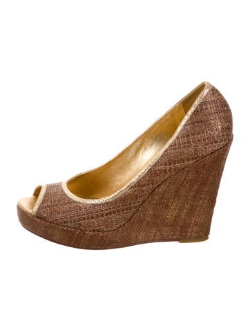 Tory Burch Peep-Toe Woven Wedges None