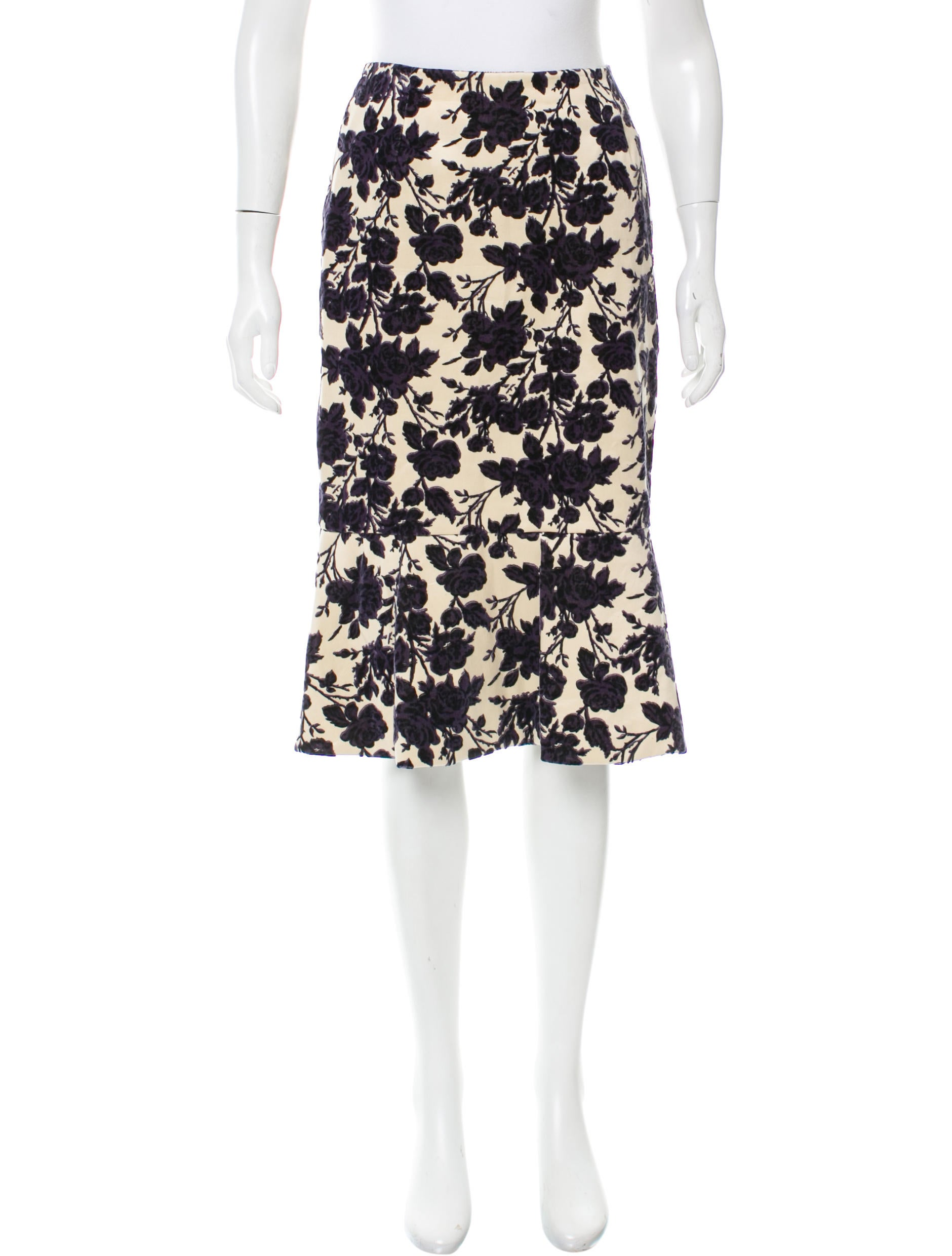 burch floral knee length skirt clothing wto104782