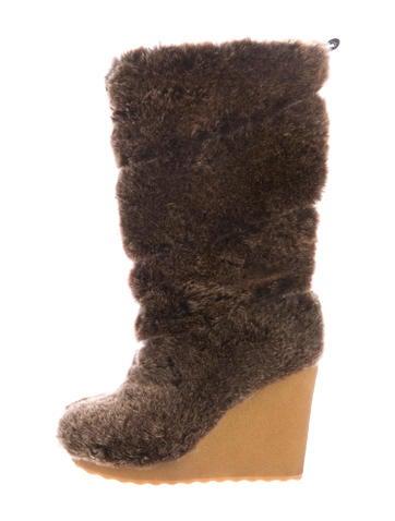 Tory Burch Faux-Fur Mid-Calf Boots None