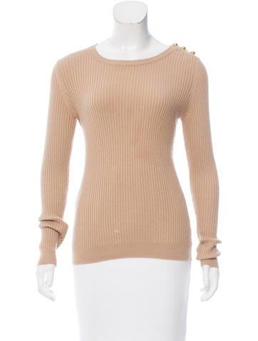 Tory Burch Rib Knit Long Sleeve Sweater None