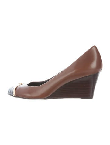 Tory Burch Cap-Toe Logo Wedge Pumps None
