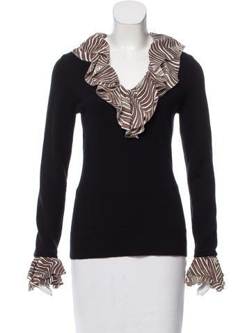 Tory Burch Silk-Trimmed Wool Sweater None