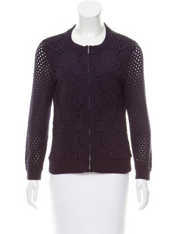 Tory Burch Crocheted Crew Neck Sweater None