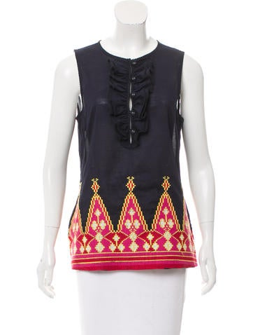 Tory Burch Sleeveless Embroidered Top None