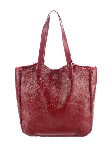 Tory Burch Patent Leather Tote None