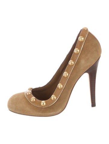 Tory Burch Studded Suede Pumps None
