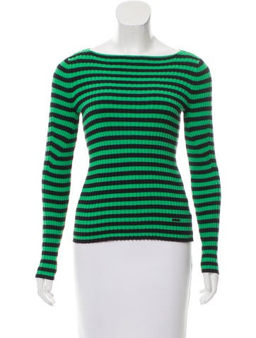 Tory Burch Rib Knit Striped Sweater None