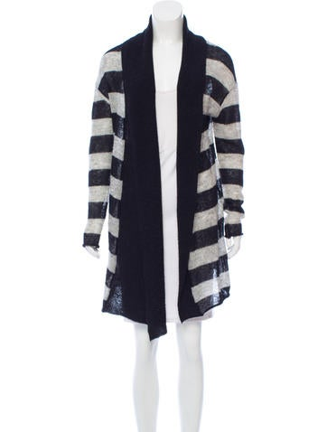 Tory Burch Striped Open Front Cardigan None