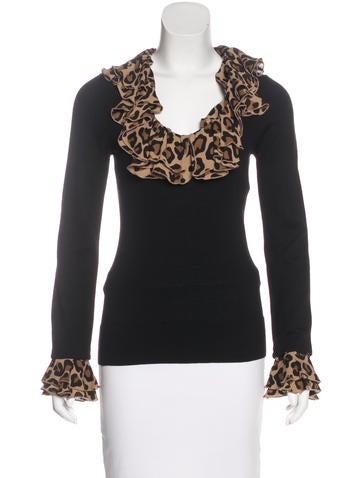 Tory Burch Wool Silk-Trimmed Top None