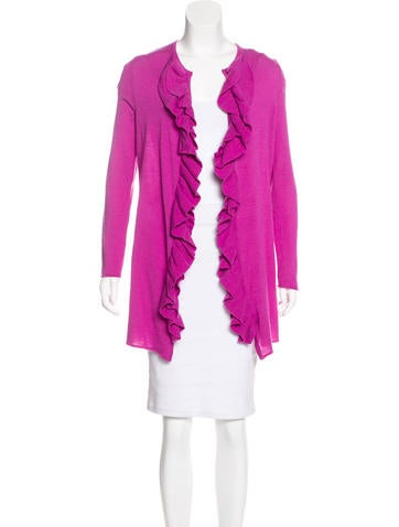 Tory Burch Merino Wool Ruffled Cardigan None