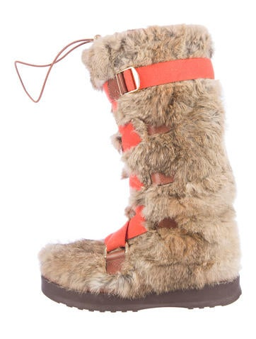 burch rabbit fur boots shoes wto10816 the realreal