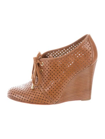 Tory Burch Perforated Lace-Up Wedges None