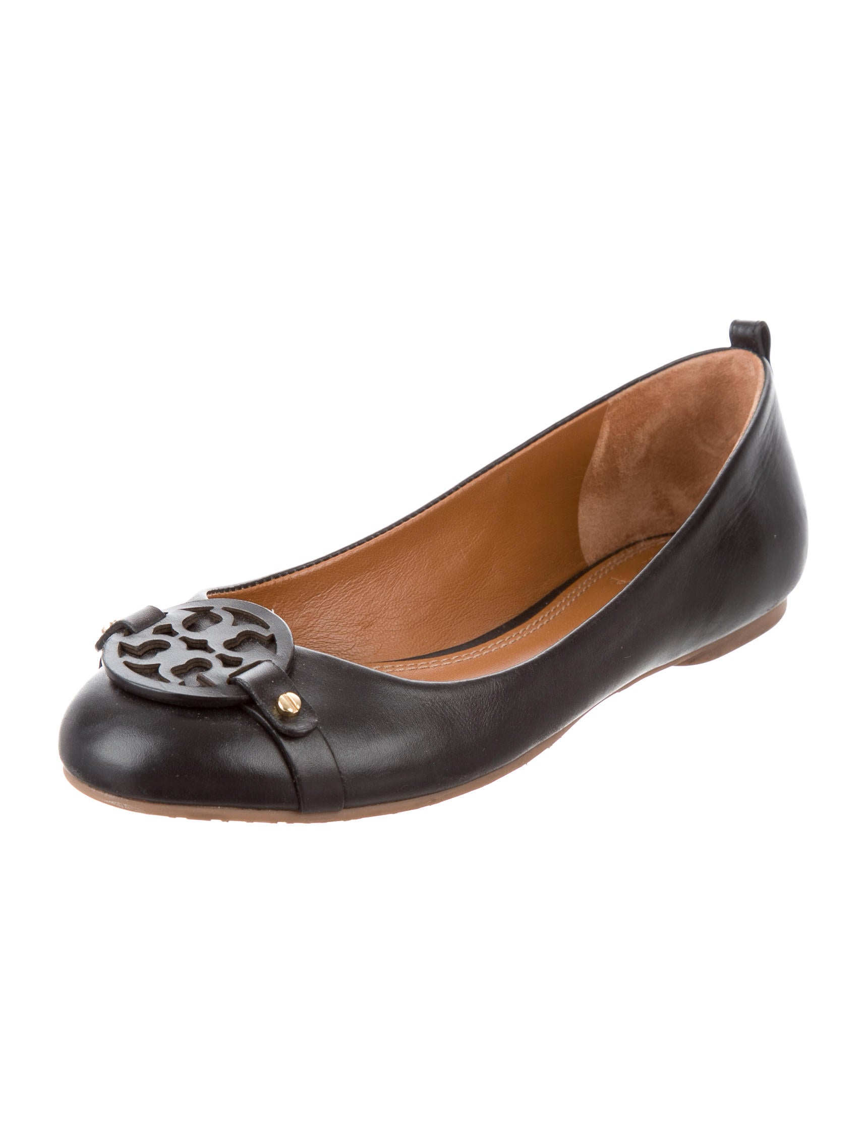 tory burch logo ballet flats shoes wto108334 the realreal. Black Bedroom Furniture Sets. Home Design Ideas