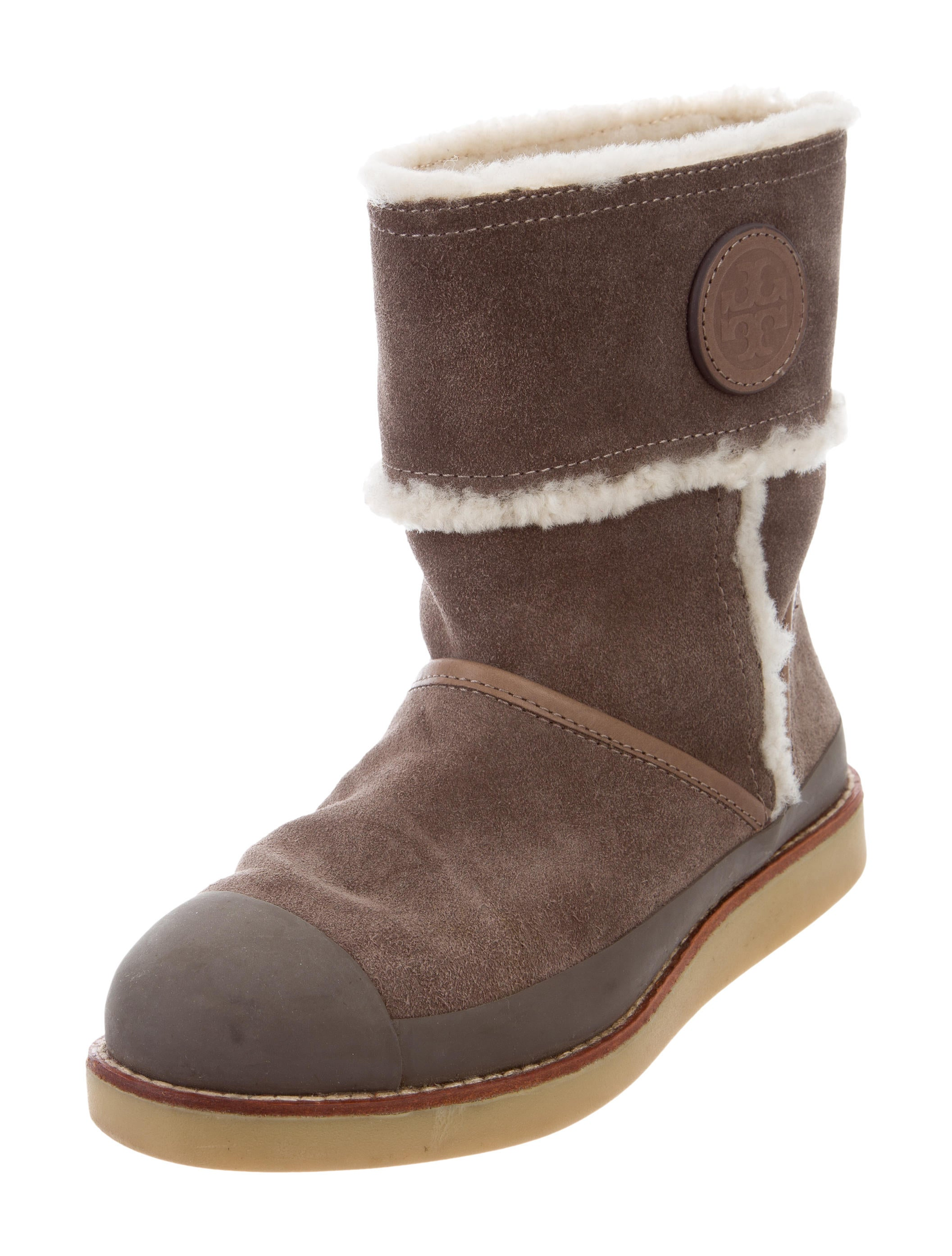 burch suede shearling trimmed boots shoes
