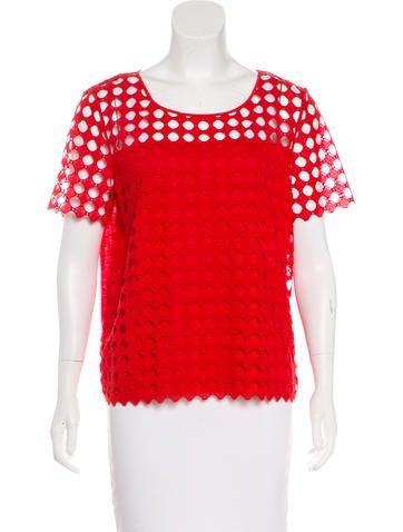 Tory Burch Crochet Short Sleeve Top None
