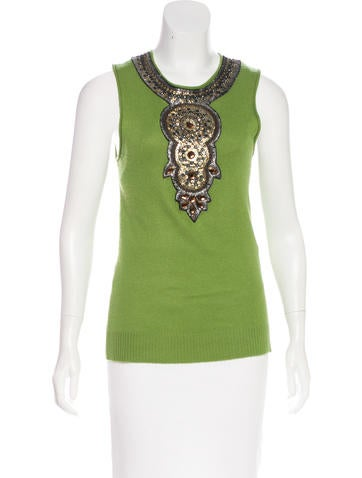 Tory Burch Cashmere Embellished Top None