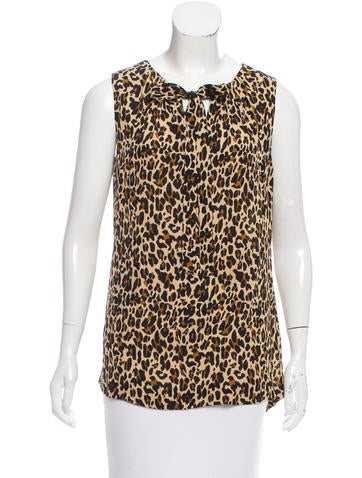 Tory Burch Printed Silk Sleeveless Top None