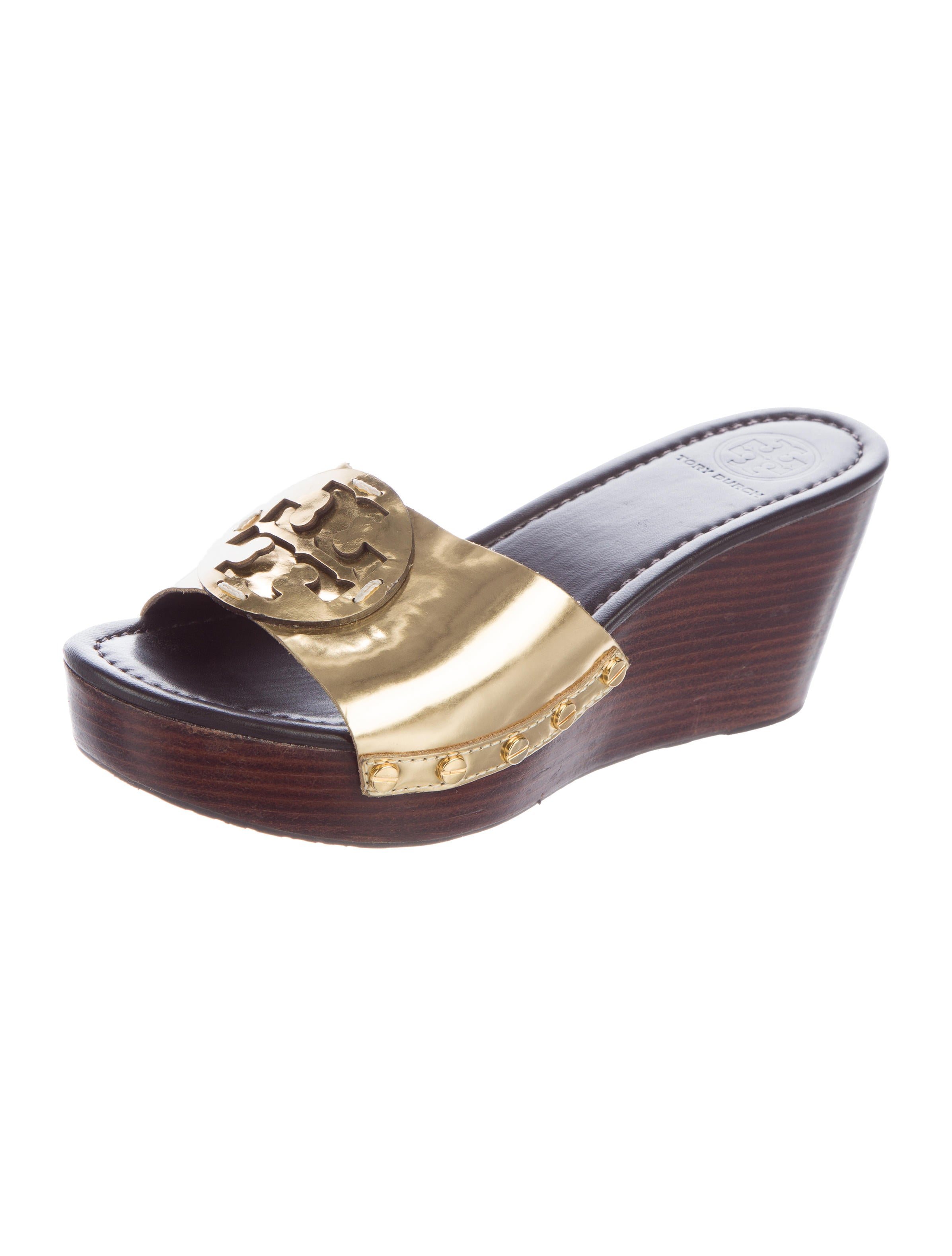 tory burch patti metallic wedge sandals shoes