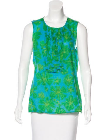 Tory Burch Sleeveless Floral Print Top None