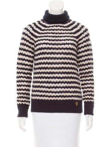 Tory Burch Open-Knit Turtleneck Sweater None