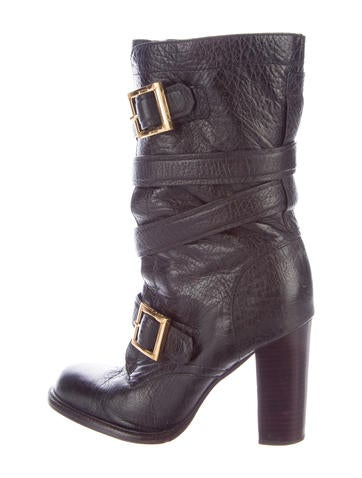 Tory Burch Leather Mid-Calf Boots None