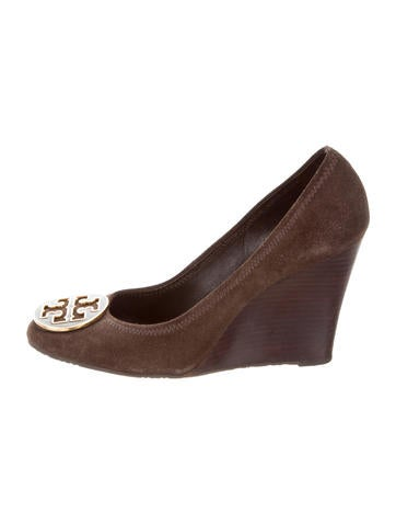 Tory Burch Round-Toe Logo Wedges None