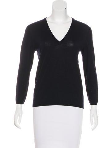 Tory Burch Merino Wool V-Neck Sweater None