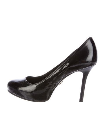 Tory Burch Patent Leather Round-Toe Pumps None