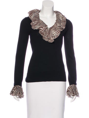 Tory Burch Silk-Accented Wool Top None