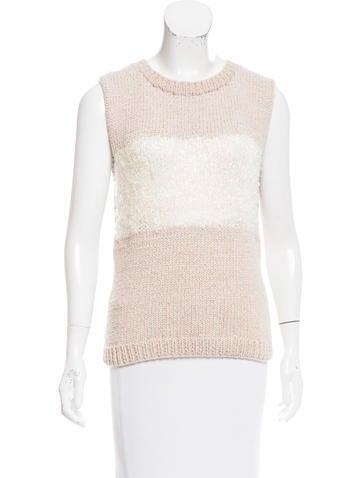 Tory Burch Sleeveless Metallic-Accented Sweater None