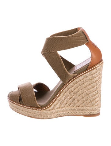 Tory Burch Crossover Platform Wedge Sandals None