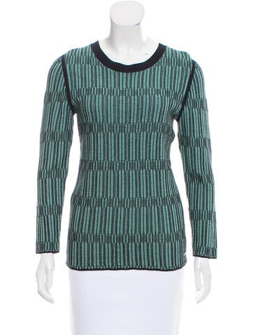 Tory Burch Intarsia Knit Long Sleeve Sweater None