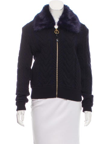 Tory Burch Faux Fur-Trimmed Wool Cardigan None