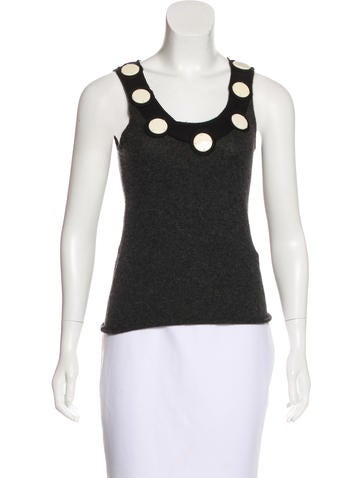Tory Burch Embellished Cashmere Top None