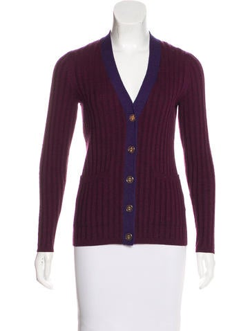 Tory Burch Wool Rib Knit Cardigan None
