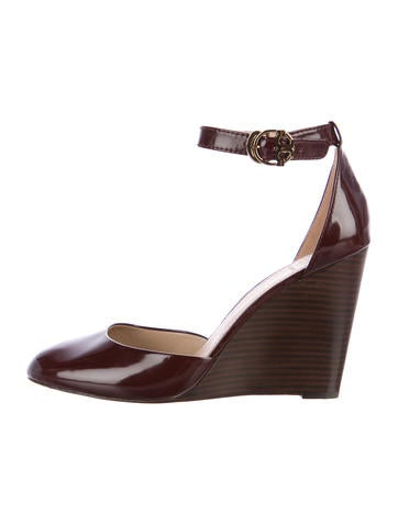 Tory Burch Leather Wedge Pumps None
