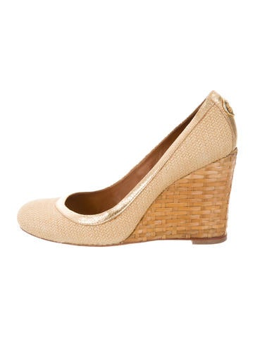 Tory Burch Logo Round-Toe Wedges None