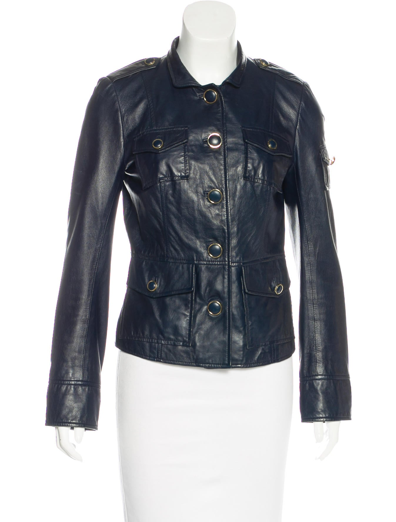 Button leather jacket