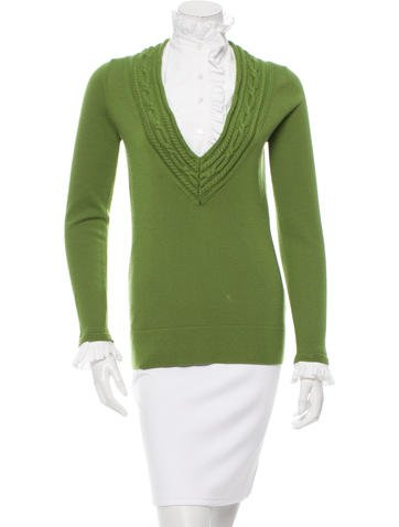 Tory Burch Ruffle-Accented Wool Top None