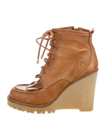 Tory Burch Leather Wedge Boots None