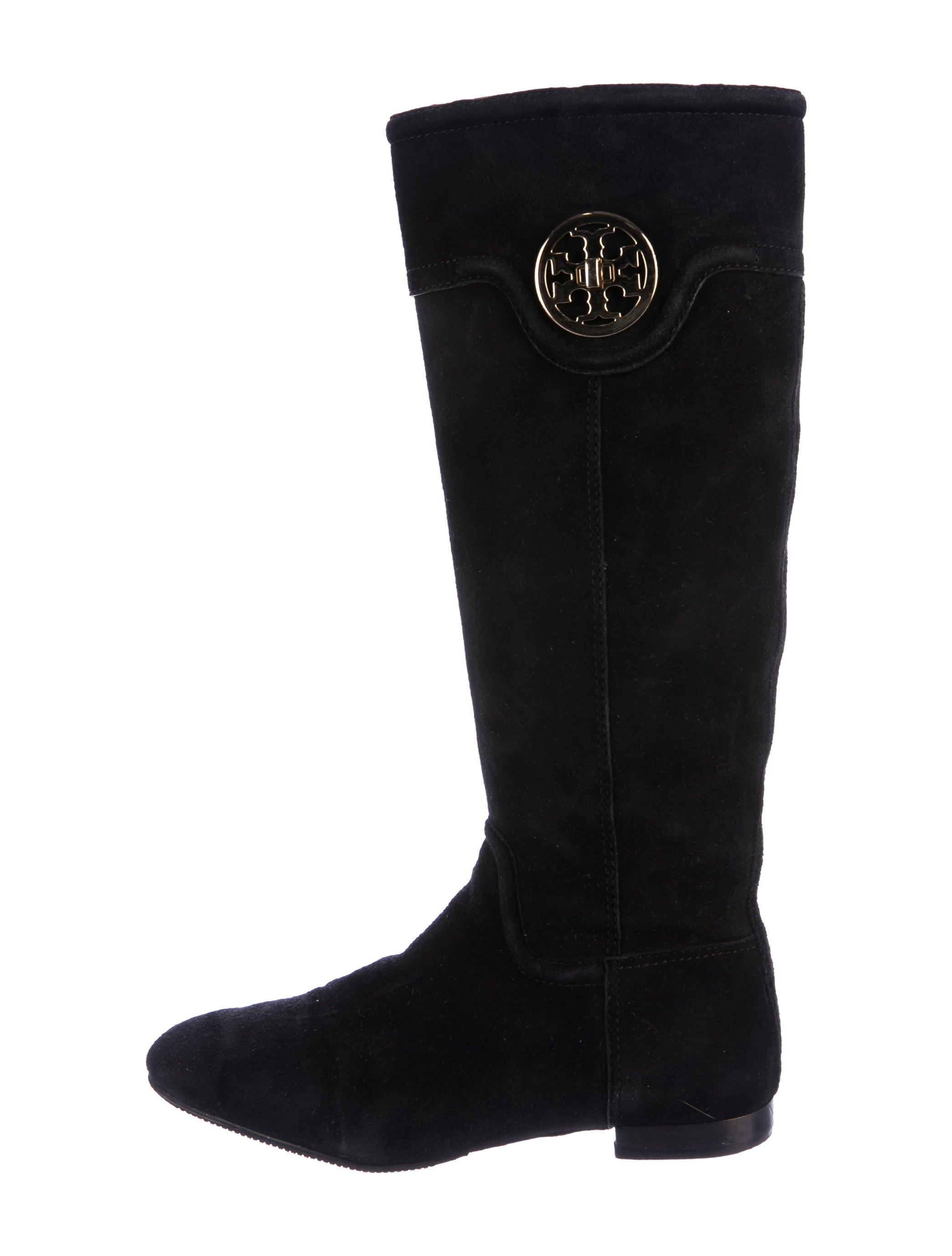 d0d7cff1afa48 Tory Burch Suede Logo Knee-High Boots - Shoes - WTO114065