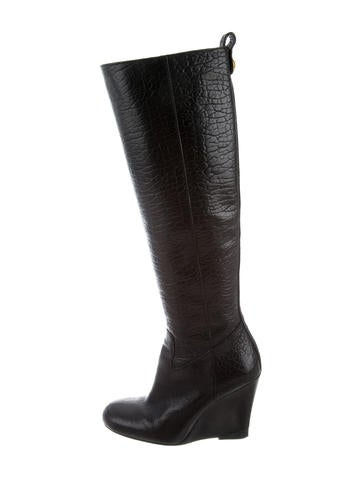 Tory Burch Leather Knee-High Wedge Boots None